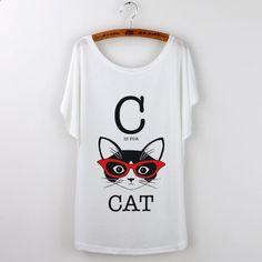 Camisetas Mujer Black Cat Retro Print Tshirt Women Tops Harajuku Loose T-Shirt 2016 Summer Clothing For Lady White Tshirt Female