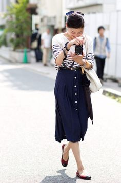 Striped Shirt and Navy Blue Button Front Skirt