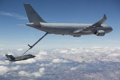 The Royal Australian Air Force completes the first fuel transfer with the air refueling boom from an RAAF KC-30A Multi Role Tanker Transport to a U.S. Air Force F-35A Lightning II Sept. 25, 2015, at Edwards Air Force Base, Calif. Refueling between the KC-30A and F-35A is an important step toward the KC-30A's achievement of final operational capability and represents continued progress in the development of the F-35A.
