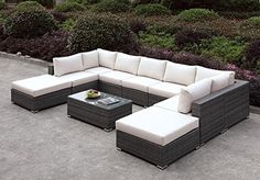 Richborne U-Sectional Grey Wicker 2 Corner, 5 Armless Chairs, 2 Ottoman, Coffee Table in Cream Cushion - Outdoor Patio ** You can find more details by visiting the image link. (This is an affiliate link) #PatioFurniture