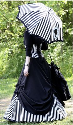 striped victorian gothic dress