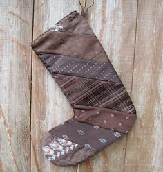 Recycled Christmas Stocking - Vintage Neckties