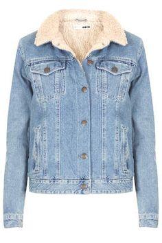 MOTO Vintage Borg Denim Jacket...wash denim western jacket with borg lining. 100% Cotton. Machine washable.