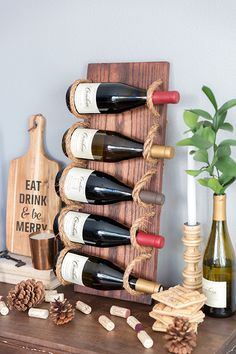 Drill holes in a board and loop rope through for a beautiful wine rack!  - 10 Last Minute DIY Wood Gifts that you Can Make | Ana White