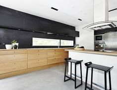 How about some black, white and light wood in the kitchen?