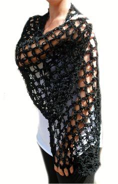 Items similar to Shawl Handmade Crochet Fashion Wrap Rectangle Prayer Shawl Scarf Love Knot Pattern Black Soft Acrylic Yarn Christmas Gifts for Her on Etsy Crochet Scarves, Crochet Shawl, Prayer Shawl, Christmas Gifts For Her, Crochet Fashion, Cowls, Wrap Style, Invitations, Knot