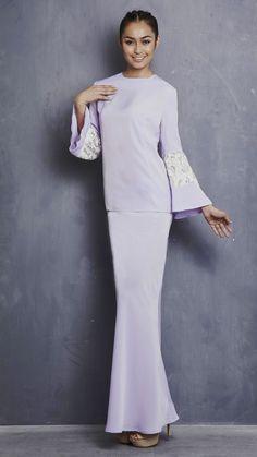 EMEL X LIYANA JASMAY - LILY - Modern Kurung with Sequin Bell Sleeve (Purple) 52187ef2d5