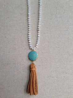 Moonstone+and+Turquoise+Pave+and+Leather+by+GoldenstrandJewelry,+$260.00