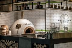 The concept outdoor inside show us a scence view about a corner of outdoor park…. Pizza Restaurant, Deco Restaurant, Restaurant Kitchen, Restaurant Interior Design, Cafe Interior, Italian Restaurant Decor, Pizzeria Design, Concept Restaurant, Pizza Store