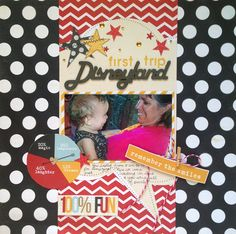 Disneyland - Scrapbook.com - Love the vertical design and the photo inside the speech bubble.