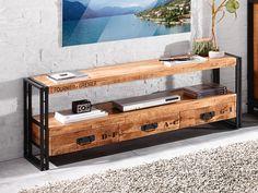 Das Lowboard Iron von WOLFMÖBEL sorgt für natürlich-schöne Akzente in Ihrem Wohnbereich. Loft, Vintage Stil, Entryway Bench, Storage, Furniture, Home Decor, Products, Technology Gadgets, Closet Shelves