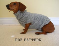 Sweater Pattern for Mini Daschaunds, Doxie, Dachshund, Knitted Dog Sweater, Small Dog. $4.00, via Etsy.