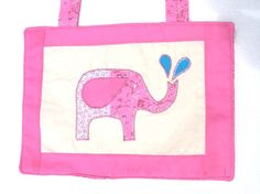Quilted Wall Art  Nursery Decoration Room Decor Baby Girl Artwork  - Pink Elephant Spraying Water - READY MADE. $15.00, via Etsy.