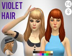 Violet Hair by Simduction   New hair for females. Comes in 18 colours, hat compatible. Feel free to recolour!   TOU: Don't claim as your own, don't reupload and if you do recolors do not include the mesh.   Enjoy!  DOWNLOAD   If you like my custom content, you are welcome to donate in my PayPal, my mail is borreyagamy@gmail.com