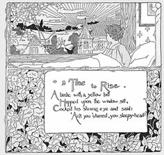 "Time to Rise Illustration by E. (Ethel) Mars and M. H. (Maud Hunt) Squire, ""A Child's Garden of Verses"" by Robert Louis Stevenson. 1900"