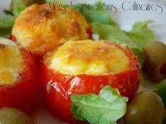 Nids de tomates au four (tomates farcies) Beignets, Samar, Pasta, 20 Min, Baked Potato, Entrees, Cooking Recipes, Stuffed Peppers, Vegetables