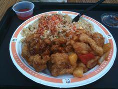 Orange Chicken, Bourbon Chicken and Rice with Orange Sauce