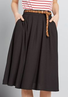 Breathtaking Tiger Lilies Midi Skirt in XXS - Full Skirt by ModCloth Work Skirts, Full Skirts, A Line Skirts, Women's Skirts, Black Midi Skirt, Faux Leather Belts, All Black Outfit, Modcloth, Tiger Lilies
