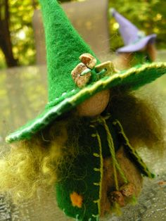 Green Wool Felt Witch Peg Doll Witch Waldorf by BRIDGITSBELL, $8.00