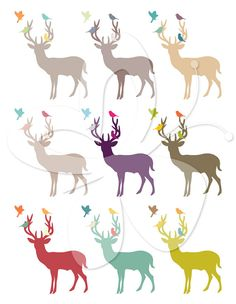 Deer and Bird Silhouettes Digital Clip Art  Clipart Set - Personal and Commercial Use