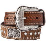 Boy's M&F Basket Weave, Brindle and Bling Belt