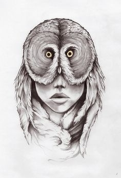 Fine Art Print  Owl Drawing Mask Feathers Pencil by jefflangevin, $25.00