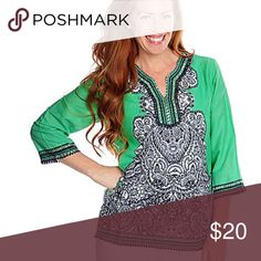 """1for $20 / 2for 30 / 3 for $40 COTTON PRINTED TOP Fit classic  Border PRINTED Embellished  Meddiem bust 42"""" center 26"""" back  Sleeve long 3/4 oso Tops"""