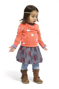 toddler outfit, kids fashion, mixed prints, coral, blues, layers, boots, headband