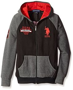 U.S. Polo Assn. Big Boys' Solid and Marled French Terry Hooded Jacket * Find out @