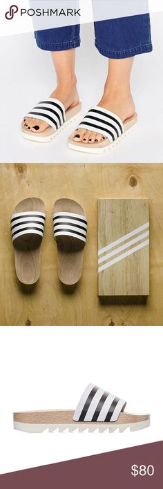 Adidas Original/ Adilette Wood Slides 2016 Item is in good condition. Size 6 but RUNS LARGE, equal to size 7. I usually wear size 6 but this pairs of adidas slides are too large for me. Recommended for people who usually wear size 6.5-7. Comes with the original shoes box. Price is negotiable, welcome to make an offer! adidas Shoes Platforms