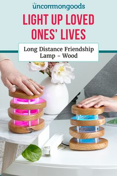 Light up loved ones' lives—across town or across the world—with these in-sync lamps. Long Distance Friendship, Creative Christmas Gifts, Pun Gifts, Bff Pictures, Secret Santa, My Little Pony, First Love, Lamps, Place Card Holders