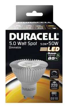 DRLEDS1 Duracell LED Dimmable Clear Spotlight - GU10 5W - http://www.duracelldirect.co.uk/pno/drleds1.html