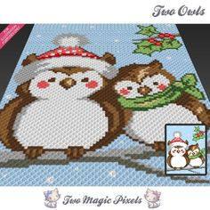 Two Christmas Owls graph crochet pattern by TwoMagicPixels Graph Crochet, Pixel Crochet, Crochet Owls, Manta Crochet, Knit Or Crochet, Crochet Blanket Patterns, Baby Blanket Crochet, Crochet Afghans, Crochet Blankets