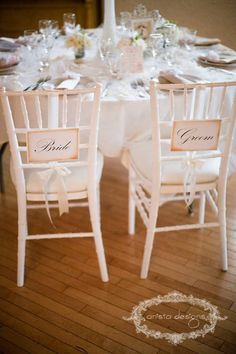 Wedding Chair Signs Bride and Groom chair signs by anistadesigns