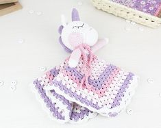 Blanket Unicorn Sweet Pattern| Security Blanket | Crochet Lovey | Baby Lovey Toy | Blanket Toy | Lovey Blanket PDF Crochet Pattern