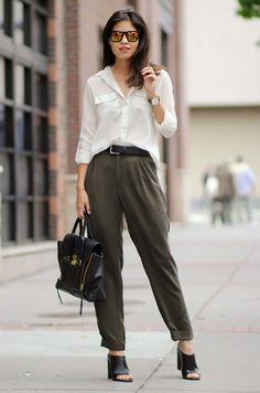 #business #casual white blouse + black trousers combination