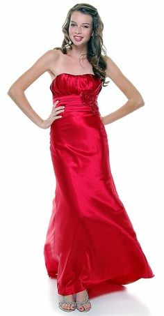 Strapless Satin Red Bridesmaid Dress Rose Flower Empire Pleated Bodice Long Gown