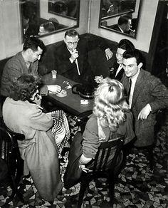 Georges Dudognon, Jean-Paul Sartre and Simone de Beauvoir at Deux Magots, c. 1950