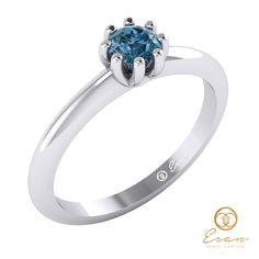Inel de logodna din aur cu diamant albastru ES30 Aur, Engagement Rings, Model, Jewelry, Fashion, Enagement Rings, Moda, Wedding Rings, Jewlery