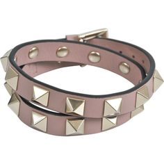Valentino Garavani Rockstud double leather bracelet (£170) ❤ liked on Polyvore featuring jewelry, bracelets, pink, pink bangles, pink jewelry, leather bangles, valentino jewelry and leather jewelry
