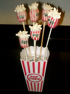 Cute Cake Pop idea. | Popcorn Boxes: http://www.foodservicewarehouse.com/benchmark-usa/41044/p375202.aspx?utm_source=social&utm_medium=pinterest&utm_campaign=site