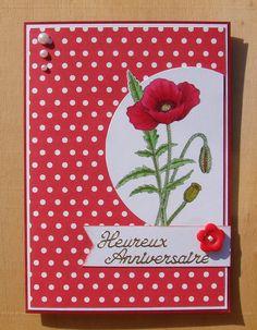 carte anniversaire 8 ans mariage coquelicot rouge et blanche bouton fleur demi perles : Cartes par cdine08