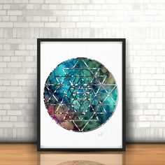 Sacred Geometry, Spiritual Wall Art, Mandala Art, Watercolor Mandala, Yoga Wall Art, Zen Decor, Yoga Studio Decor, Sri Yantra Geometry by ArtistiCorner on Etsy