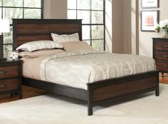KING SIZE BED WITH DARK AND MEDIUM STAIN WOOD