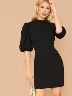 Types Of Sleeves, Dresses With Sleeves, Tweed Dress, Hot Dress, Latest Dress, Collar Dress, Stylish Dresses, Mock Neck, Lanterns