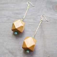 Geometric Wood & Jade Earrings Long Gold Chain Dangle Earrings