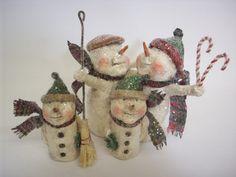Primitive Paper Mache Folk Art Snowman by papiermoonprimitives, $119.00
