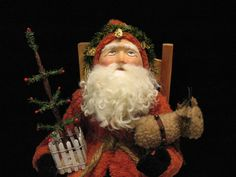 Primitive~Antique-Style santa with German-look face~OOAK by: Jean T. Littlejohn