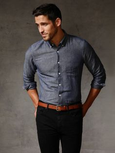 chambray, brown belt, black pants