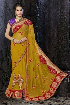 Buy Yellow Net Designer Saree Online in low price at Variation. Huge collection of Designer Sarees for Wedding. #designer #designersarees #sarees #onlineshopping #latest #lowprice #variation. To see more - https://www.variationfashion.com/collections/designer-sarees